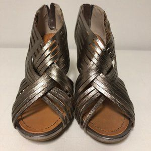Anthro Seychelles Metallic Woven Leather Wedges